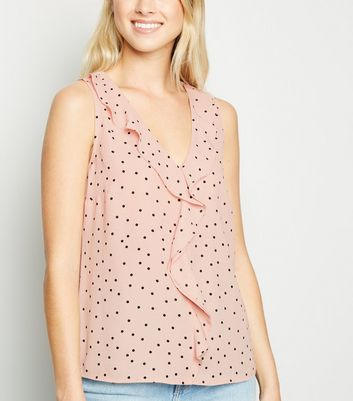 Pink Spot Frill Trim Sleeveless Shirt