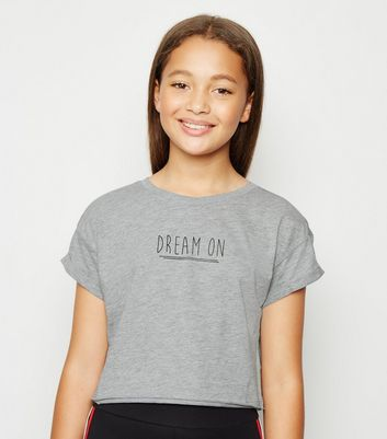 Girls Grey Dream On Slogan T-Shirt