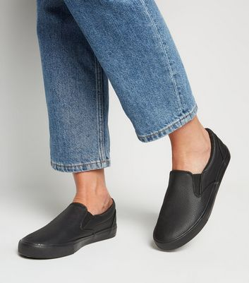 Black Faux Snake Slip On Trainers   New