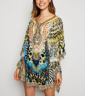 Cameo Rose Green Animal Print Chiffon Kaftan