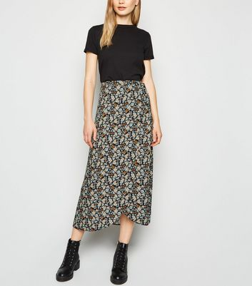 Tall Black Pattern Midi Skirt