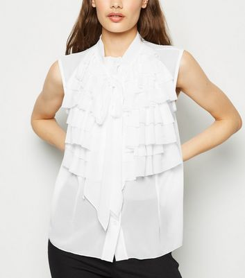 Cameo Rose White Ruffle Sleeveless Blouse