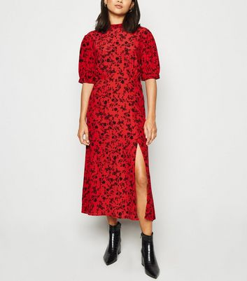 Petite Red Ditsy Floral Side Split Midi Dress
