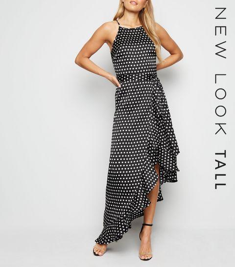 833999729ad41 ... Tall Black Spot Satin Ruffle Hem Maxi Dress ...