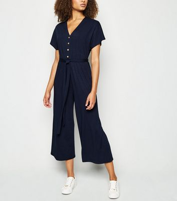 Tall Navy Ribbed Button Up Jumpsuit