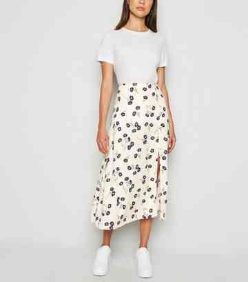 15b726ef143e Cream Daisy Floral Side Split Midi Skirt ...
