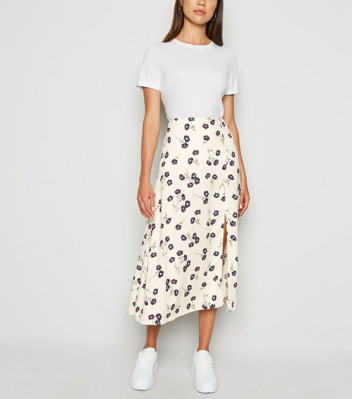 a3dfd5b33 Cream Daisy Floral Side Split Midi Skirt   New Look