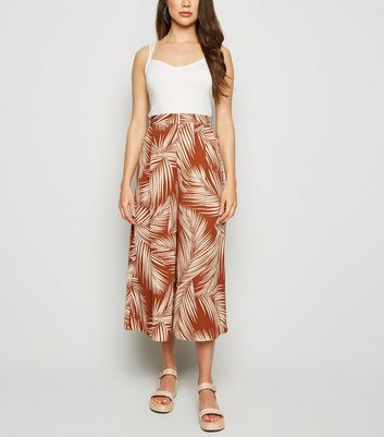 Rust Palm Print Wide Leg Crop Trousers