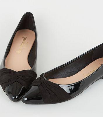 Black Patent Twist Front Ballet Pumps