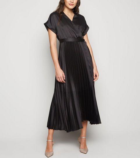 cce55bd3081 ... Black Satin Pleated Midi Dress ...