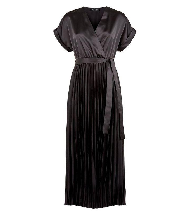 5d1cbcb32ce Black Satin Pleated Midi Dress - Photo Dress Wallpaper HD AOrg