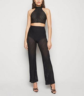 Black Mesh Stripe Wide Leg Trousers