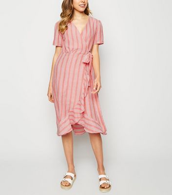 Urban Bliss Red Stripe Wrap Midaxi Dress