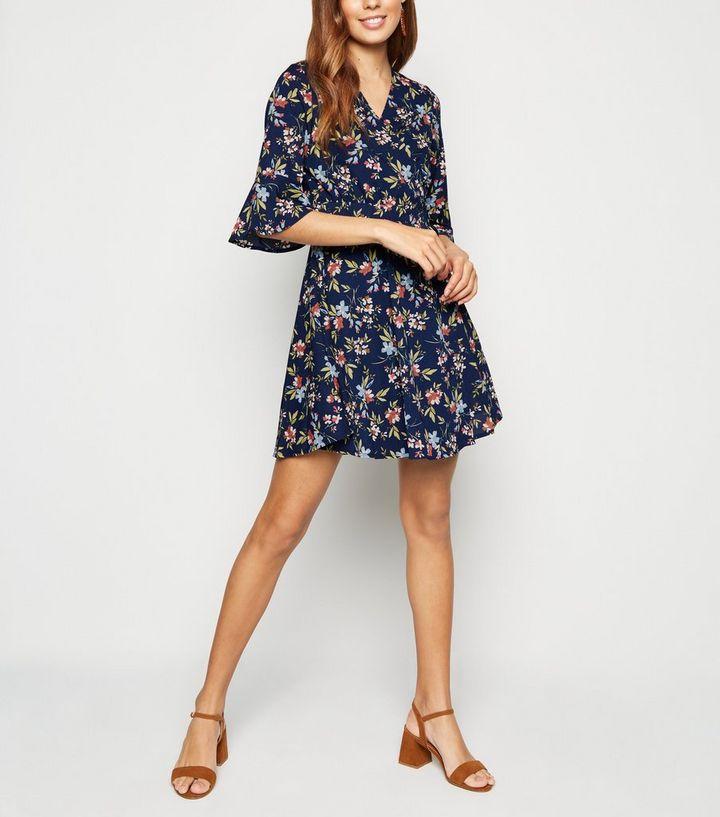 aaf9cada455ed4 Blue Vanilla Navy Floral Frill Sleeve Wrap Dress   New Look