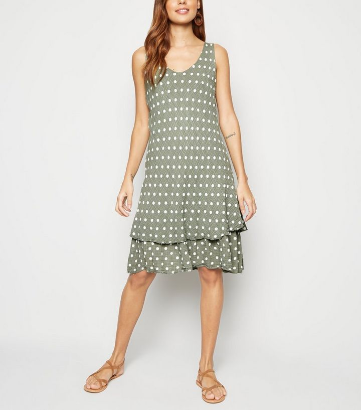 ded277d8268 Blue Vanilla Khaki Polka Dot Sleeveless Dress