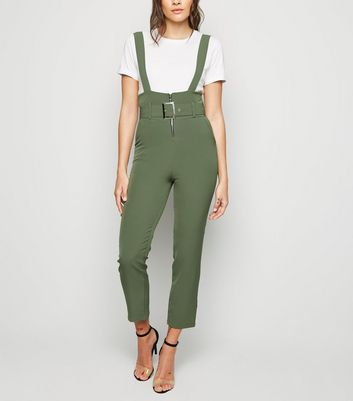 Urban Bliss Khaki Suspender Trousers