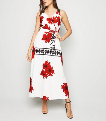 Urban Bliss White Floral Wrap Maxi Dress