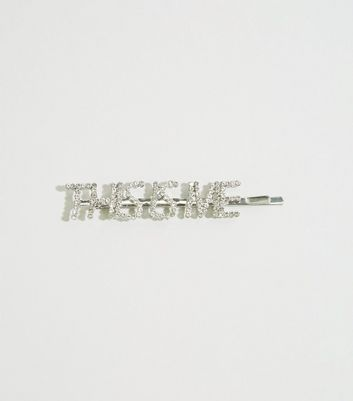 Barrette à cheveux argentée à strass et à slogan This Is Me