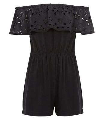 Girls Black Broderie Frill Trim Playsuit