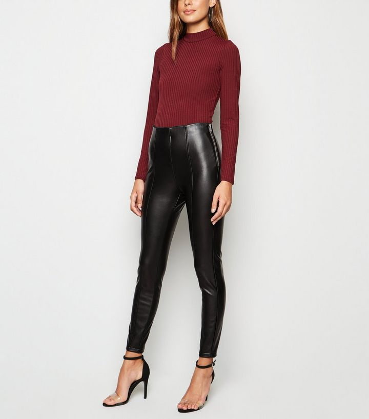 amazing quality double coupon save off Black Coated Leather-Look Leggings Add to Saved Items Remove from Saved  Items