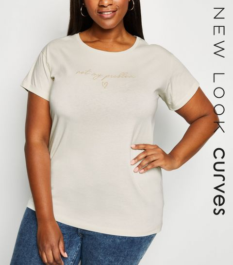 2174f3d2d63d ... Curves Off White Not My Problem Slogan T-Shirt ...