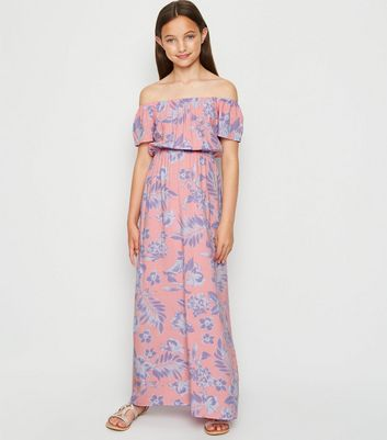 Girls Pink Floral Bardot Maxi Dress