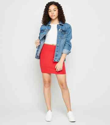 Girls Red Jersey Tube Skirt