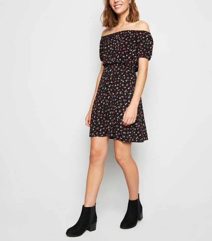 74082cc9ec68 Black Ditsy Floral Bardot Skater Dress | New Look