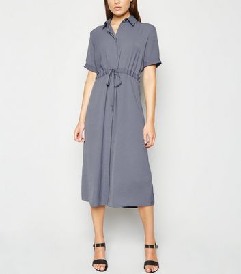 Grey Drawstring Waist Midi Shirt Dress