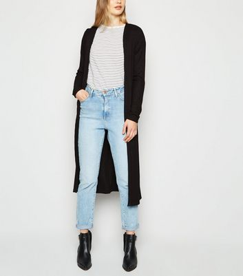 Tall Black Ribbed Midi Cardigan