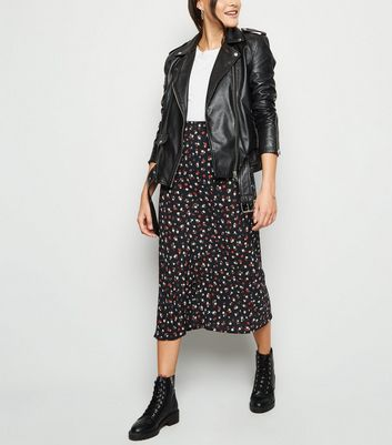 Black Floral Rose Print Midi Skirt