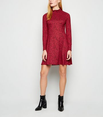 Red Floral Soft Touch Long Sleeve Dress