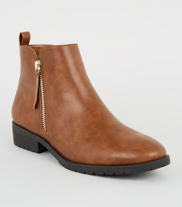 meilleures baskets 65e7c 693dc Tan Leather-Look Flat Ankle Boots Add to Saved Items Remove from Saved Items