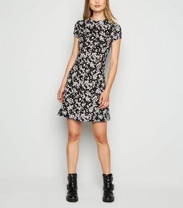 Black Floral Jersey Skater Dress