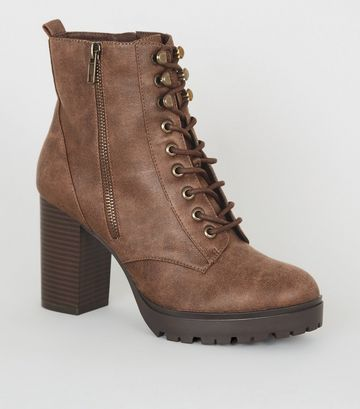 Tan Leather-Look Lace Up Chunky Heeled Boots