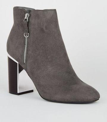 Grey Suedette Metal Block Heel Boots