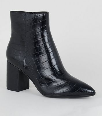 Black Faux Croc Ankle Boots by New Look