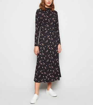 Black Floral Soft Touch Midi Dress