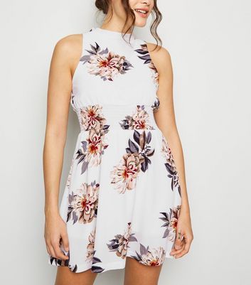 Cameo Rose White Floral Shirred Waist Dress