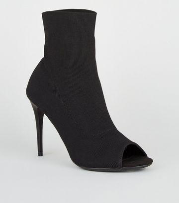 Black Stretch Sock Stiletto Peep Toes
