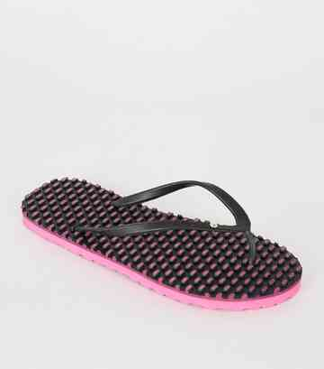 Souls – Schwarze Flipflops mit Massage-Sohle in Neon-Optik