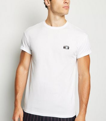 White Camera Embroidered Crew Neck T-Shirt