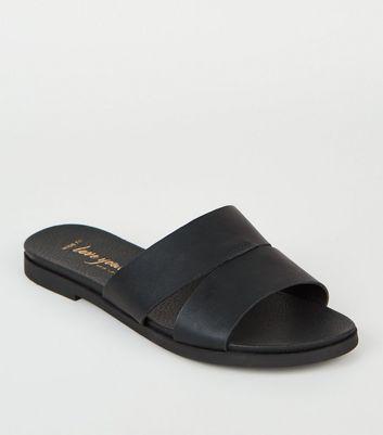 Wide Fit Black Leather-Look Sliders