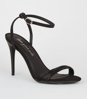 Black 2 Part Diamanté Stiletto Heels by New Look
