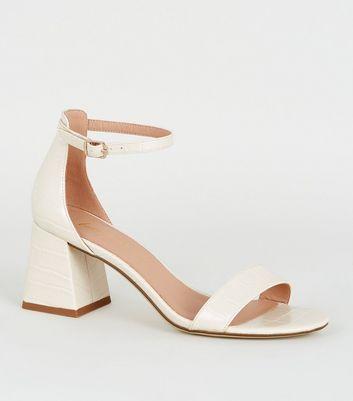 Off White Faux Croc Block Heel Sandals