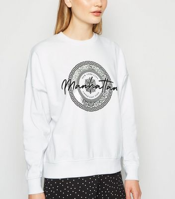 White Manhattan Slogan Metallic Sweatshirt