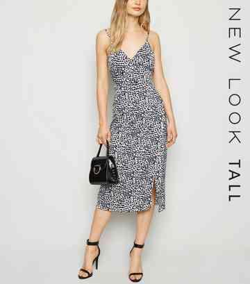 f826c44016a4d0 Tall White Leopard Print Satin Wrap Midi Dress ...