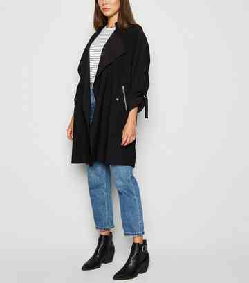 Black Belted Waterfall Duster Jacket