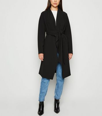 Black Waterfall Belted Duster Jacket