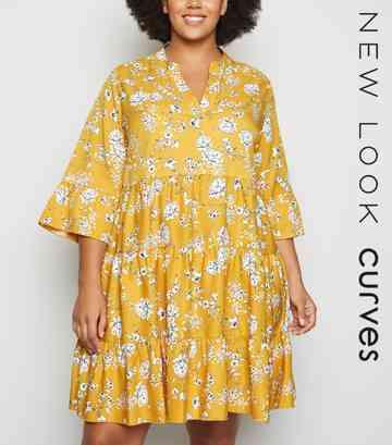 12cd8342e3 Black Pale Pink. Curves Mustard Floral Tiered Smock Dress ...